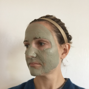 megan wearing clay mask
