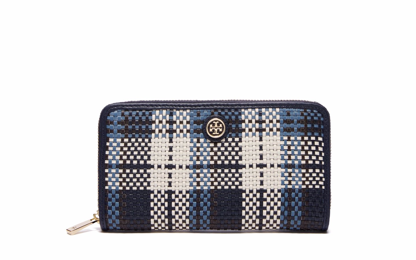 Tory Burch Robinson Woven Plaid Wallet , $250