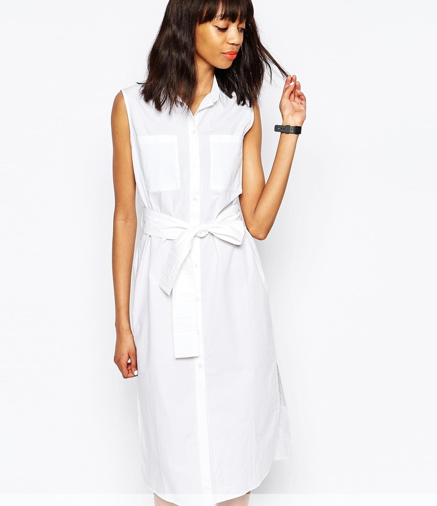 ASOS Monki Exclusive Tie Front Shirt Dress
