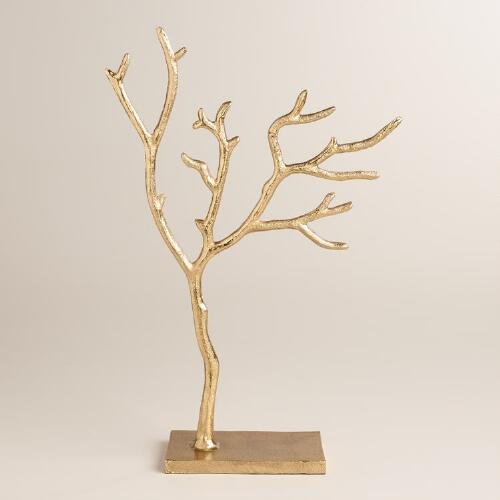 Gold Tree Jewelry Stand, $25