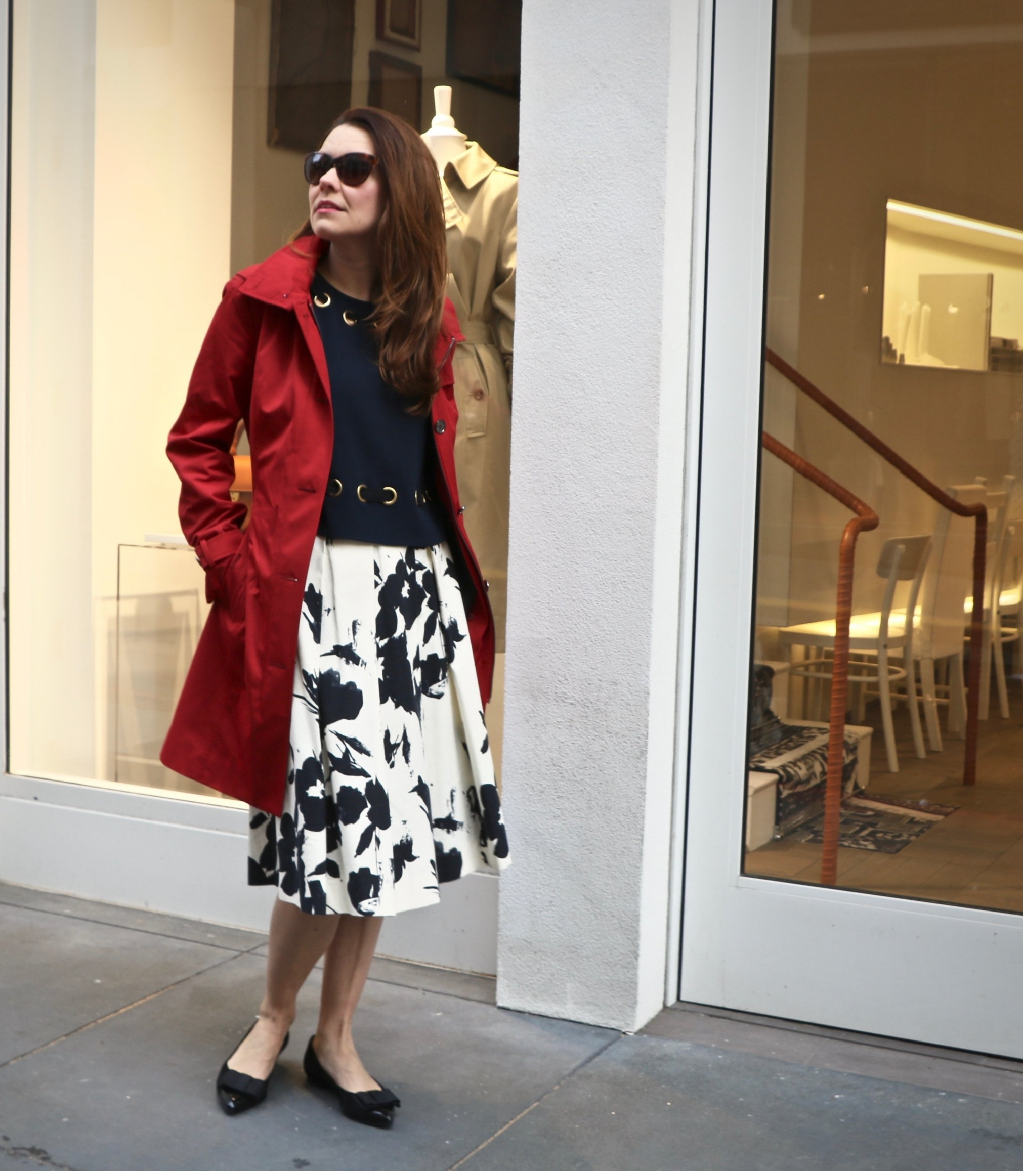 Red Trench Coat: Michael Kors ,  Derek Lam Navy Grommet Crop Top , Zara Midi (From last year),  French Sole Black Flats