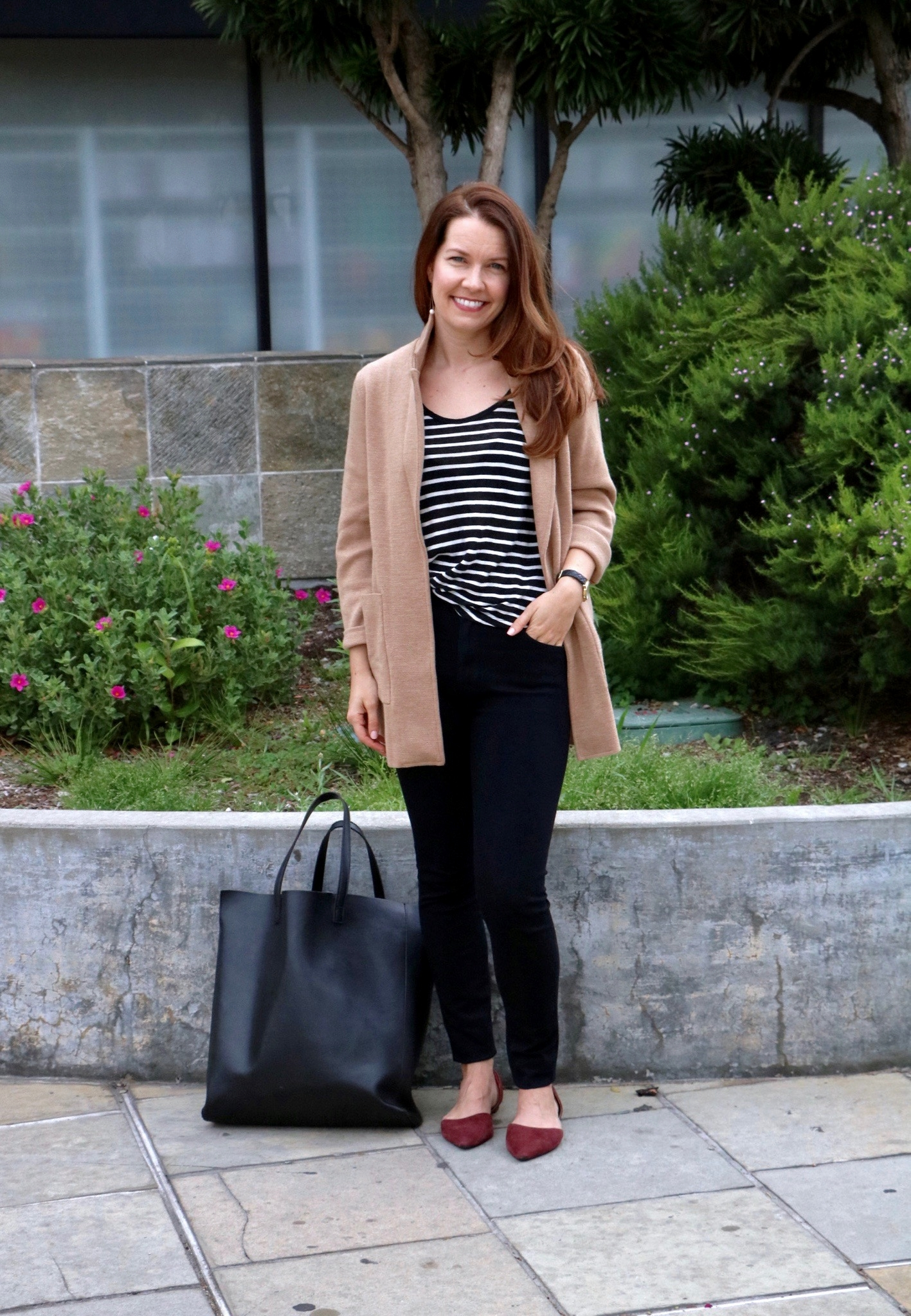 Outfit Details:  J.Crew Sweater Blazer $138,  AG Farah High-rise Jeans  $178, Black and White Linen Tee ( Similar  Caslon $25), Older BR Wine Flats (Similar above), Earrings Jessica Thompson Designs Triangle Pear $38