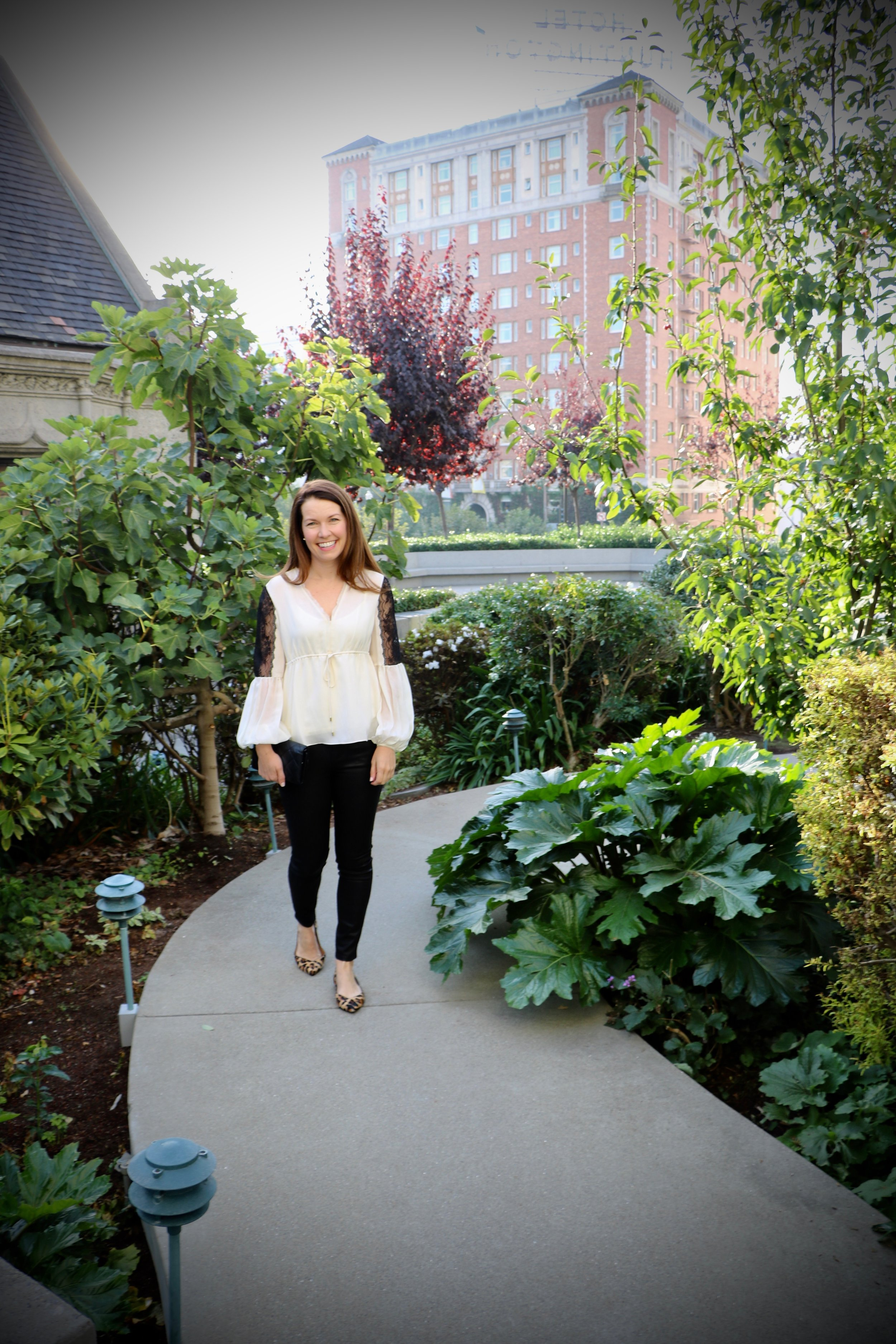 The Look:Joe's Coated Skinny Jeans, Rachel Zoe Maeve Silk Blouse , Tried and True Animal Flats
