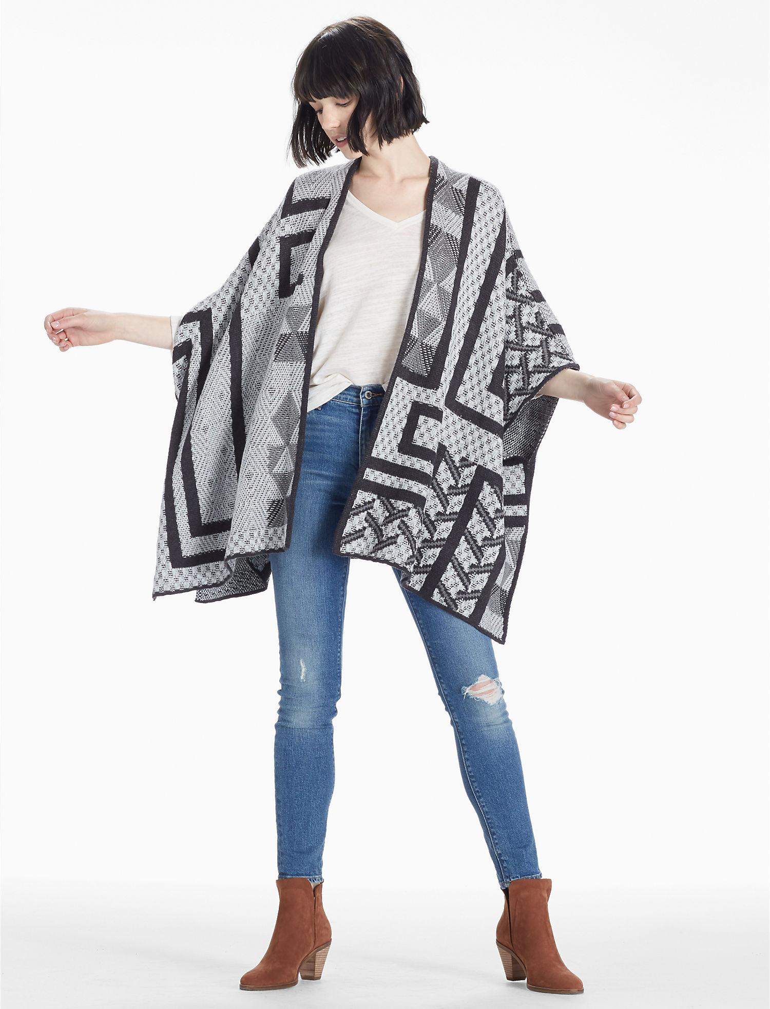 Lucky Intarsia Sweater Poncho $89.50