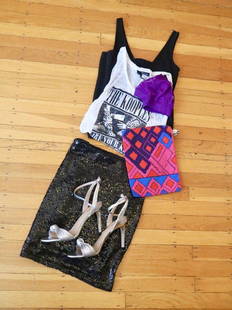 Outfit details:  H&M sequin mini , Kooples tank top ( similar ), Stella McCartney bralette ( similar ), Anthropoligie beaded clutch ( similar ), Aldo metallic heels ( similar ).