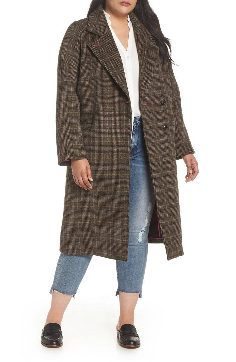 Double Face Plaid Wool Blend Coat AVEC LES FILLES