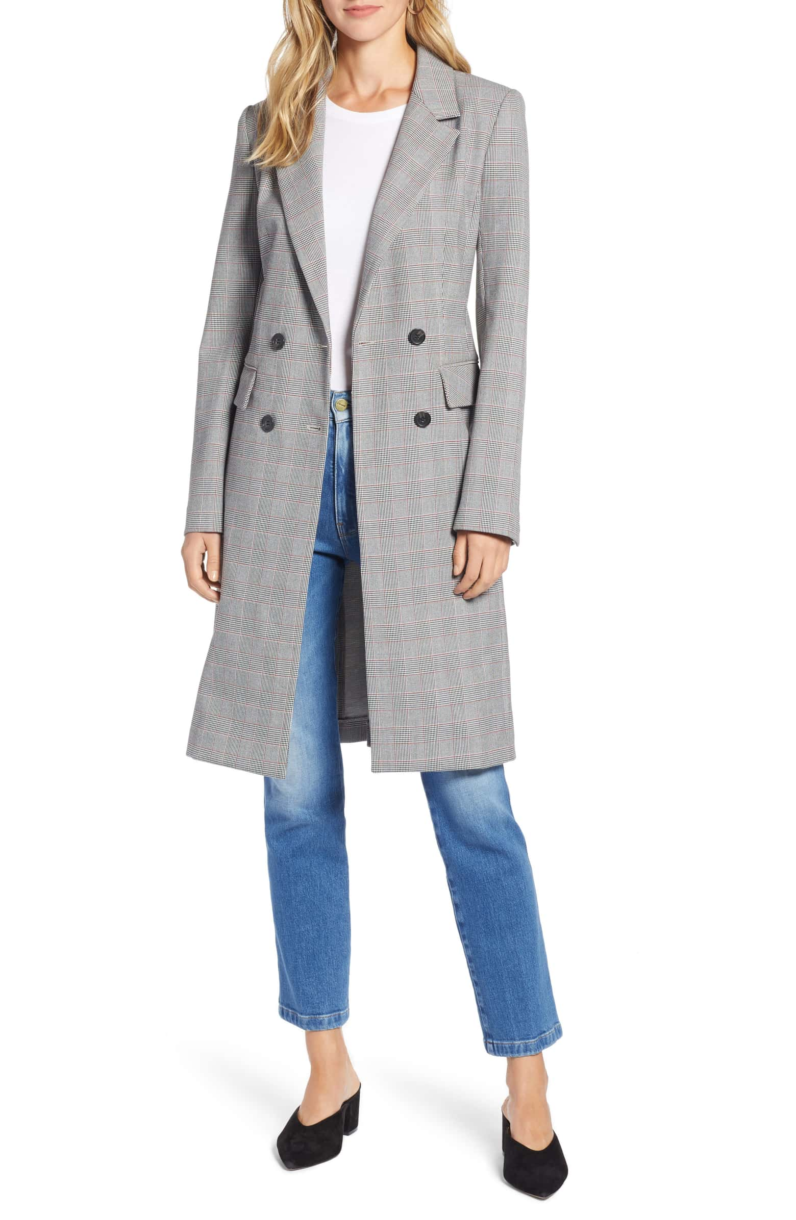Structured Plaid Coat HALOGEN® $179