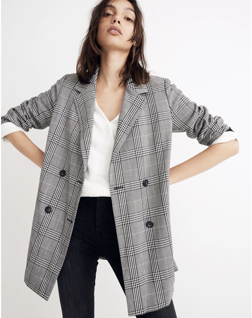 Madewell Caldwell Double-Breasted Blazer in Plaid $168