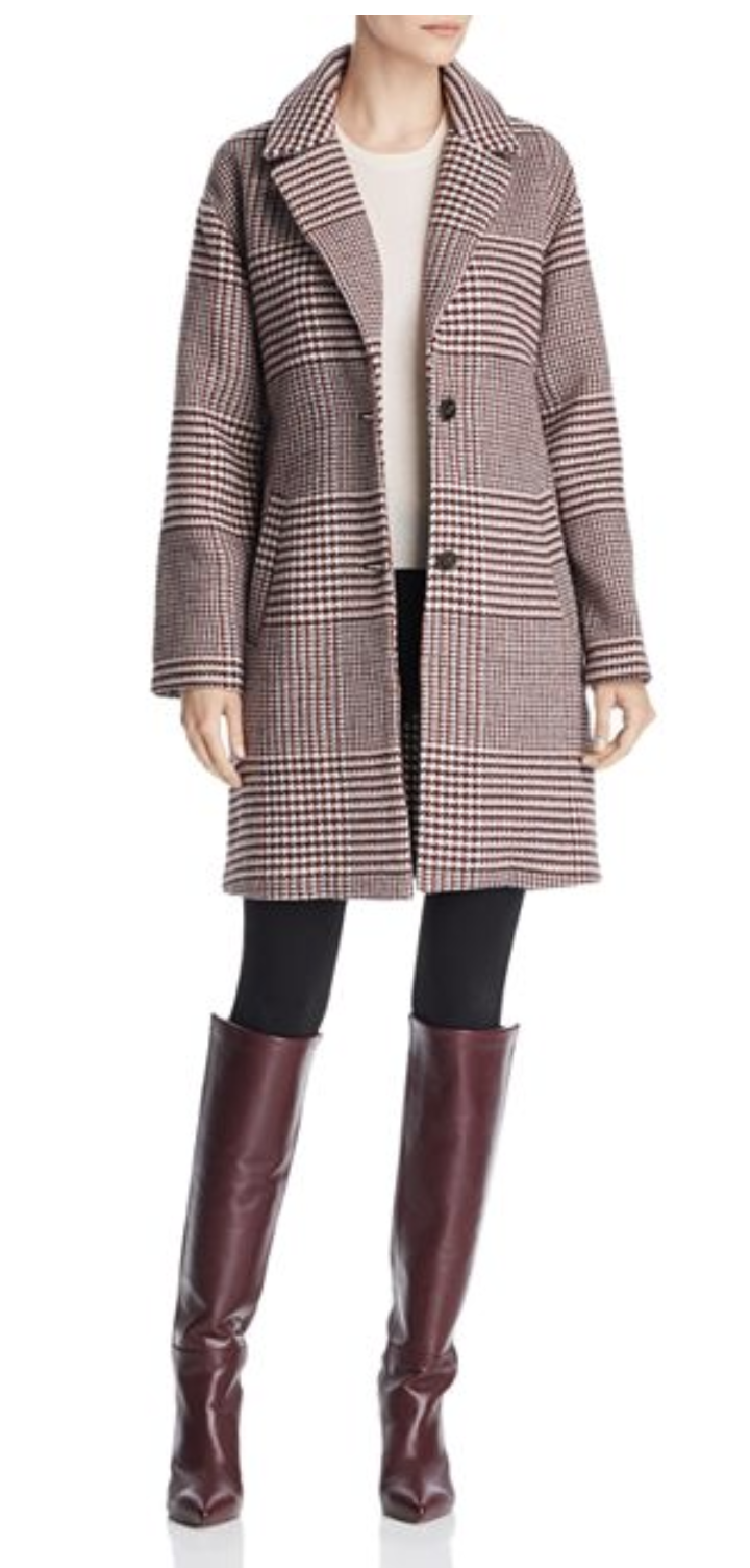 Bernardo Notched Collar Plaid Coat $199