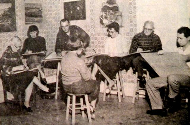A February 1958 photograph on the newly organized Lodi Community Art Center. The sketch class is meeting at 14-1/2 Pine Street, upstairs in old downtown, where the group had a meeting place and gallery during its early years. Ethel Bolinger, Maryly Wallof, Leslie Wiederrich, Julie Nordquist, Carl Klafke, and Richard Hieb are pictured according to the Lodi news Sentinel.
