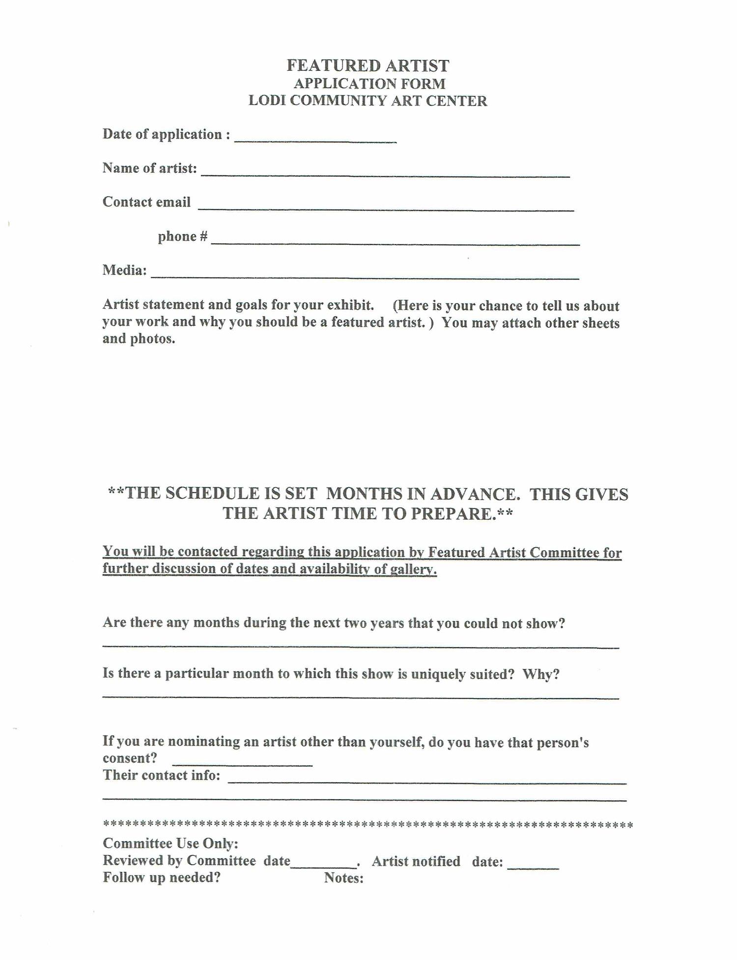 Featured Artist Application Form