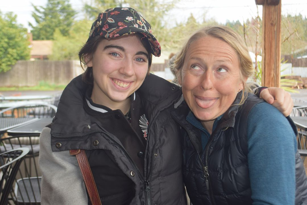 Araina Gehr (right) with her daughter, 2019. Photo by Andrew Ek