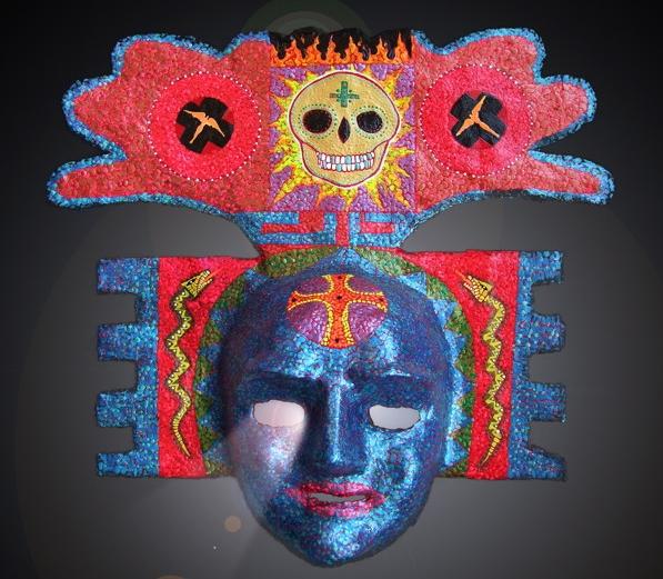 Diego Marcial Rios Blue Mayan mask