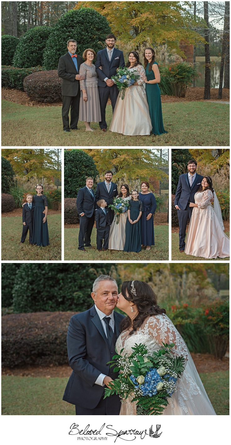 Intimate family formals before fall wedding ceremony in Milton GA