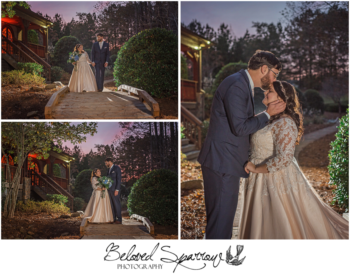 Bride and Groom portraits at dusk with off camera flash