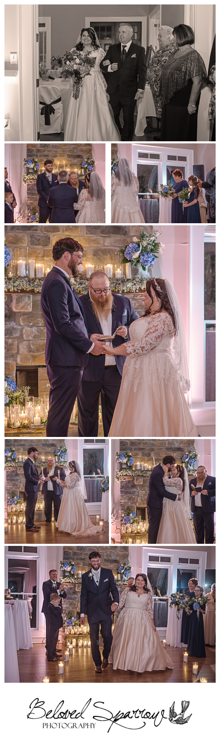 Intimate candlelit wedding ceremony at Triple Crown Milton GA