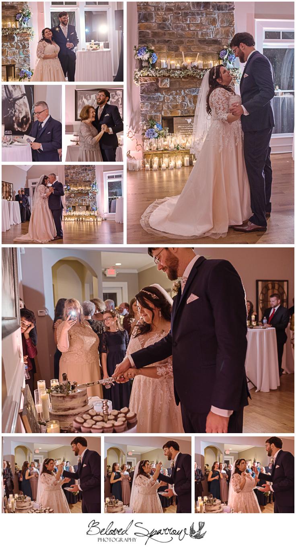 Intimate wedding reception first dance cake cutting at Triple Crown Milton GA