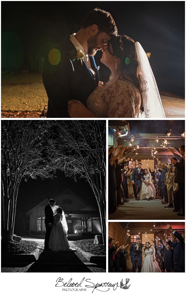 Night bride groom portraits off camera flash and sparkler exit at Triple Crown Milton GA