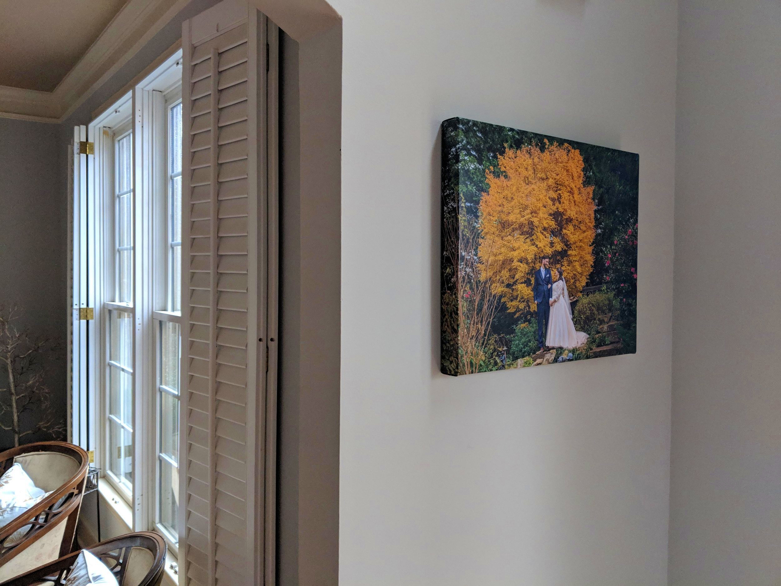 fall wedding canvas print hanging in home