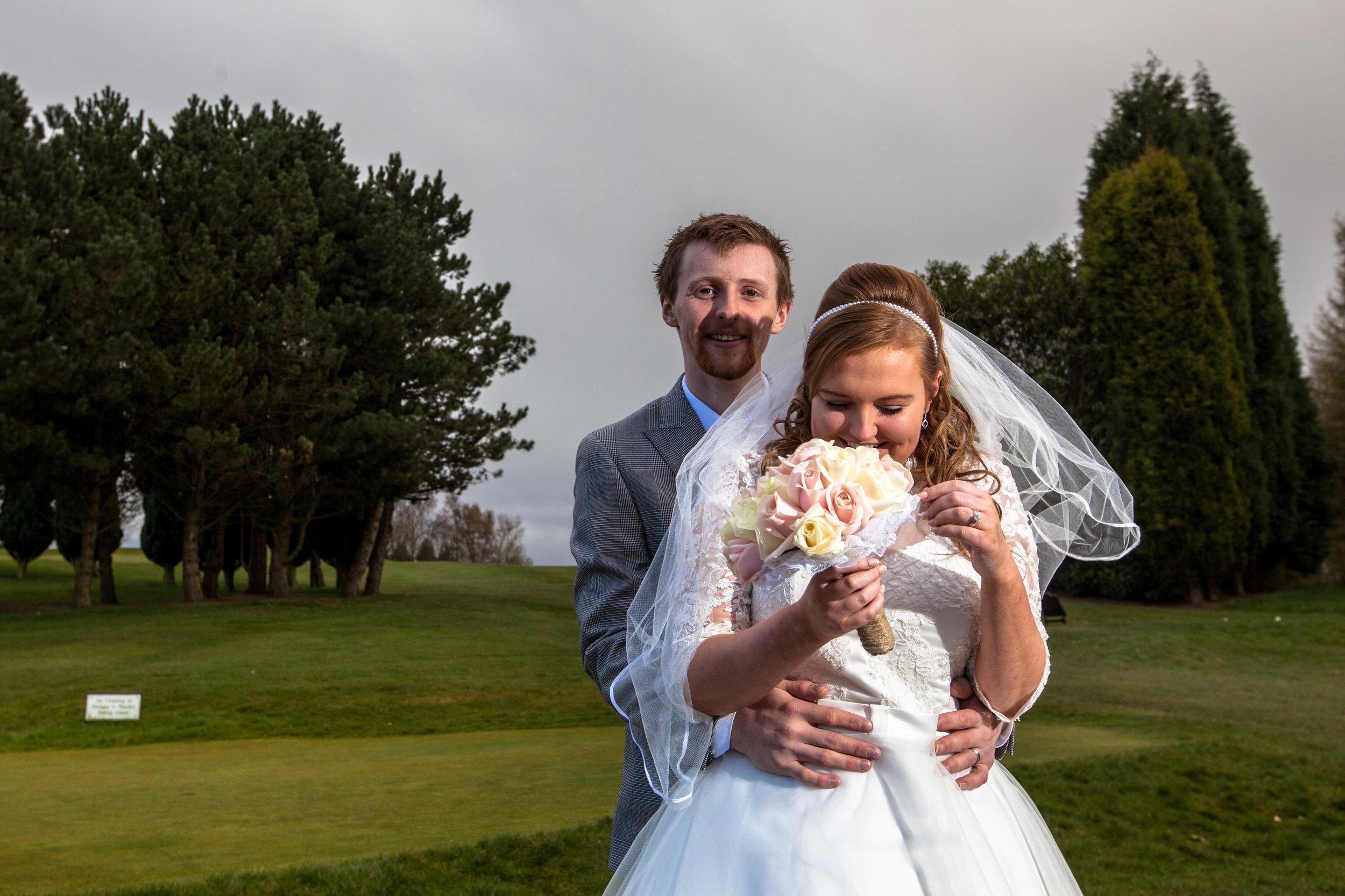 Bride and groom at Skipton wedding.
