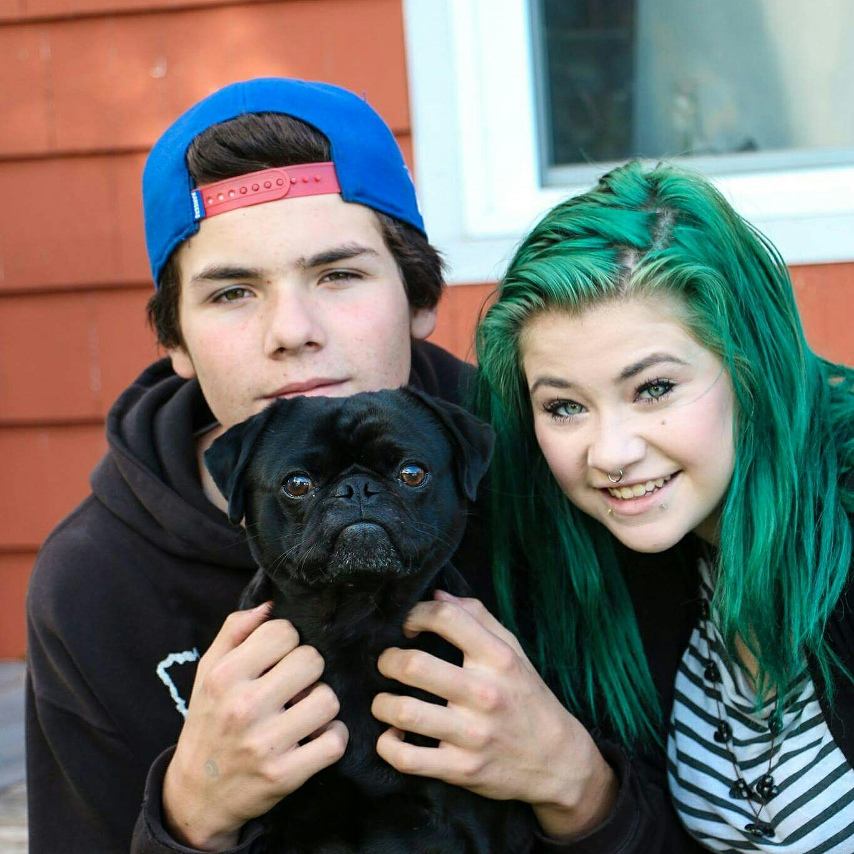 & yes...my girl now has blue green hair...heeheehee