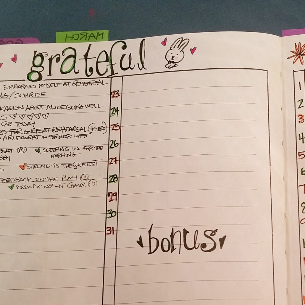the March grateful list...i try to list at least 3 things every day...