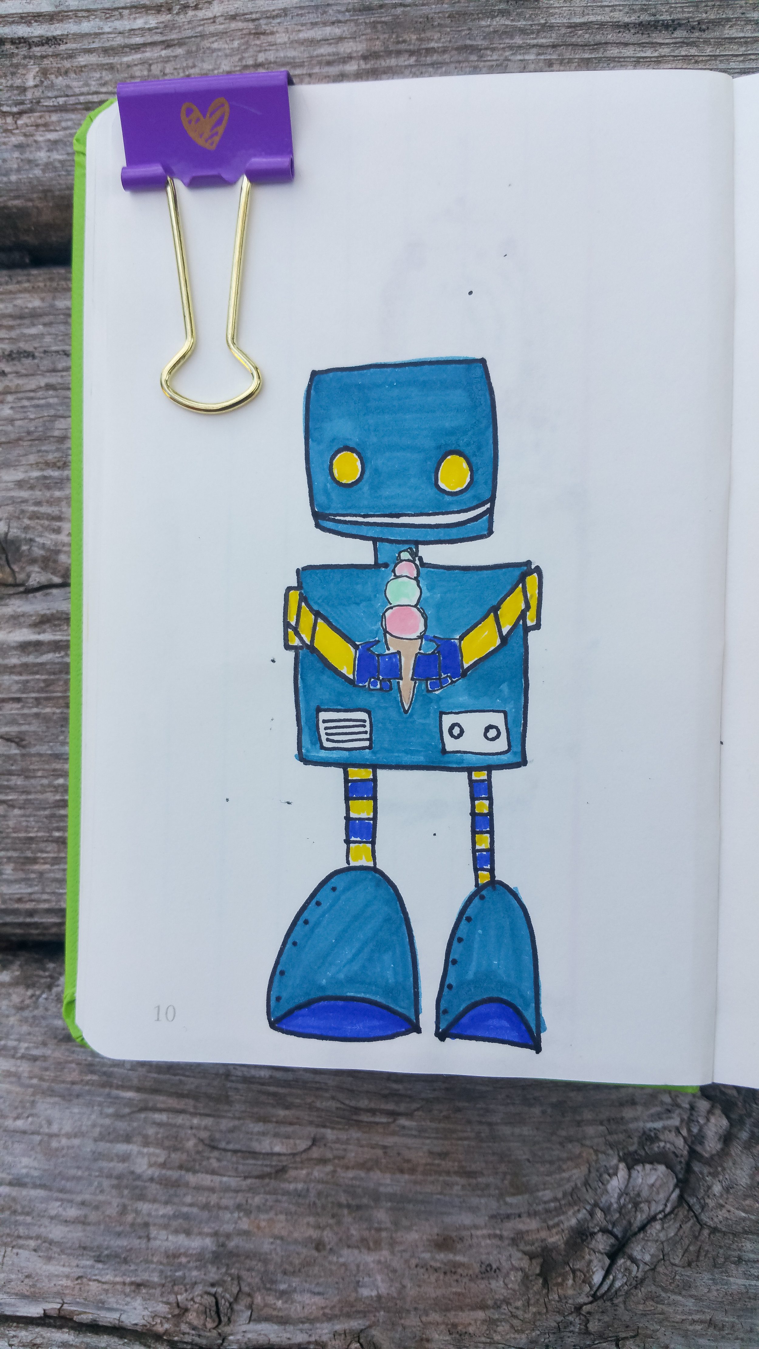 Sept 25, 2017 robot #18/365 (mmmm....ice cream) (and i really don't know how this little guy's scrawny legs are going to support his giant mismatched feet.)