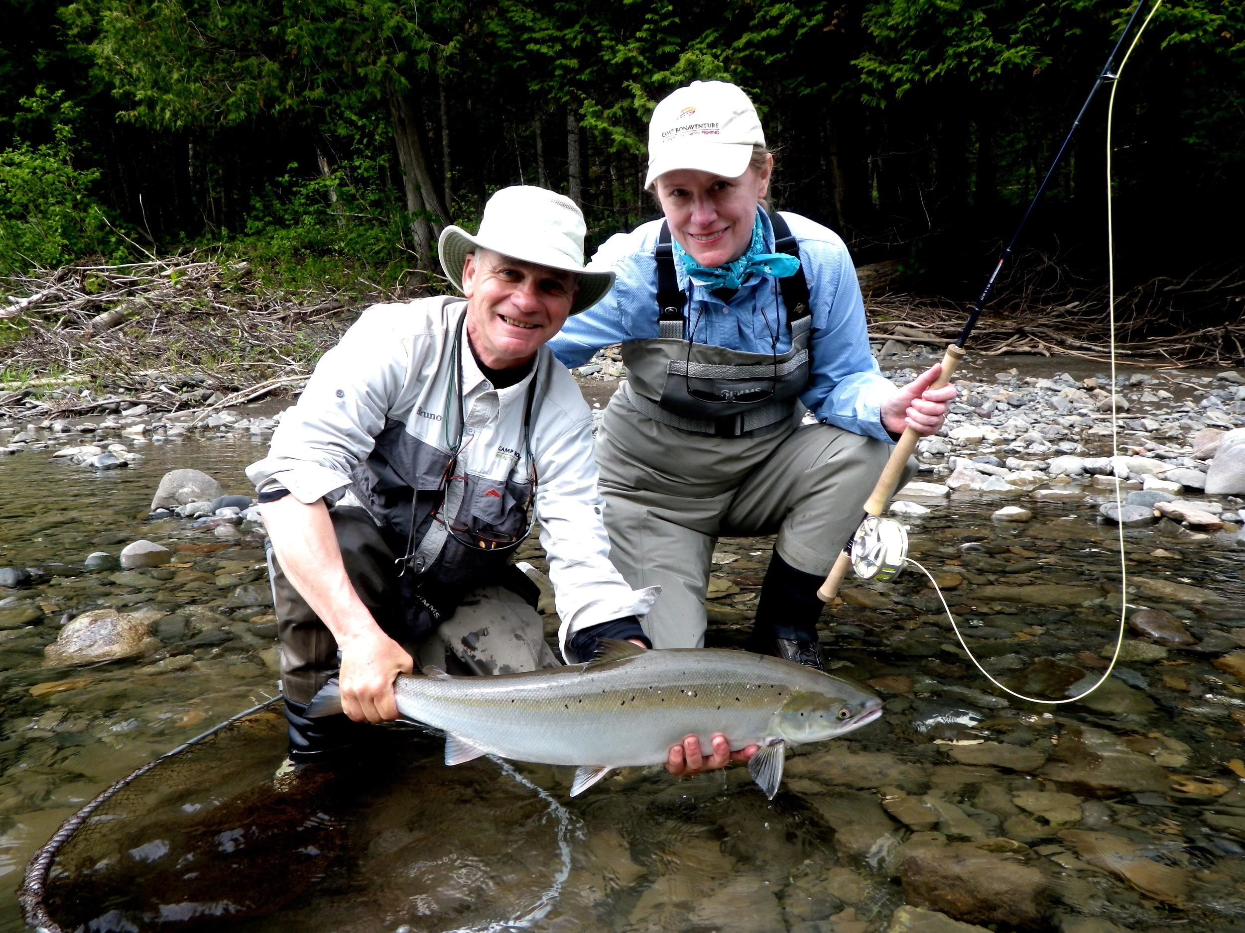 Marilou Long from Texas with Camp Bonaventure guide Bruno Lepage, Nice one Marilou!
