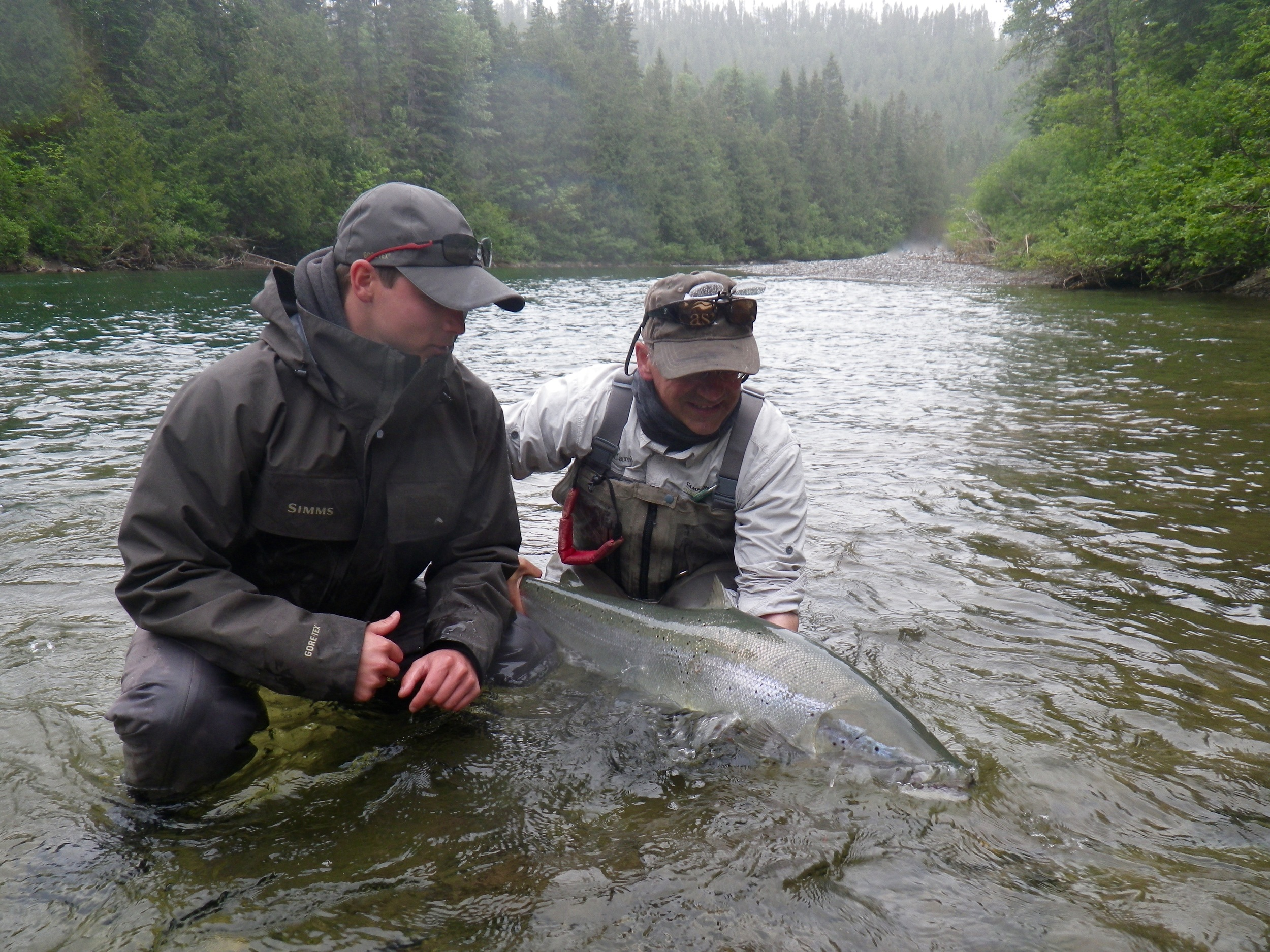 Louis Turcotte with Camp Bonaventure guide Carol Barriault on the Bonaventure, Nice fish Louis!