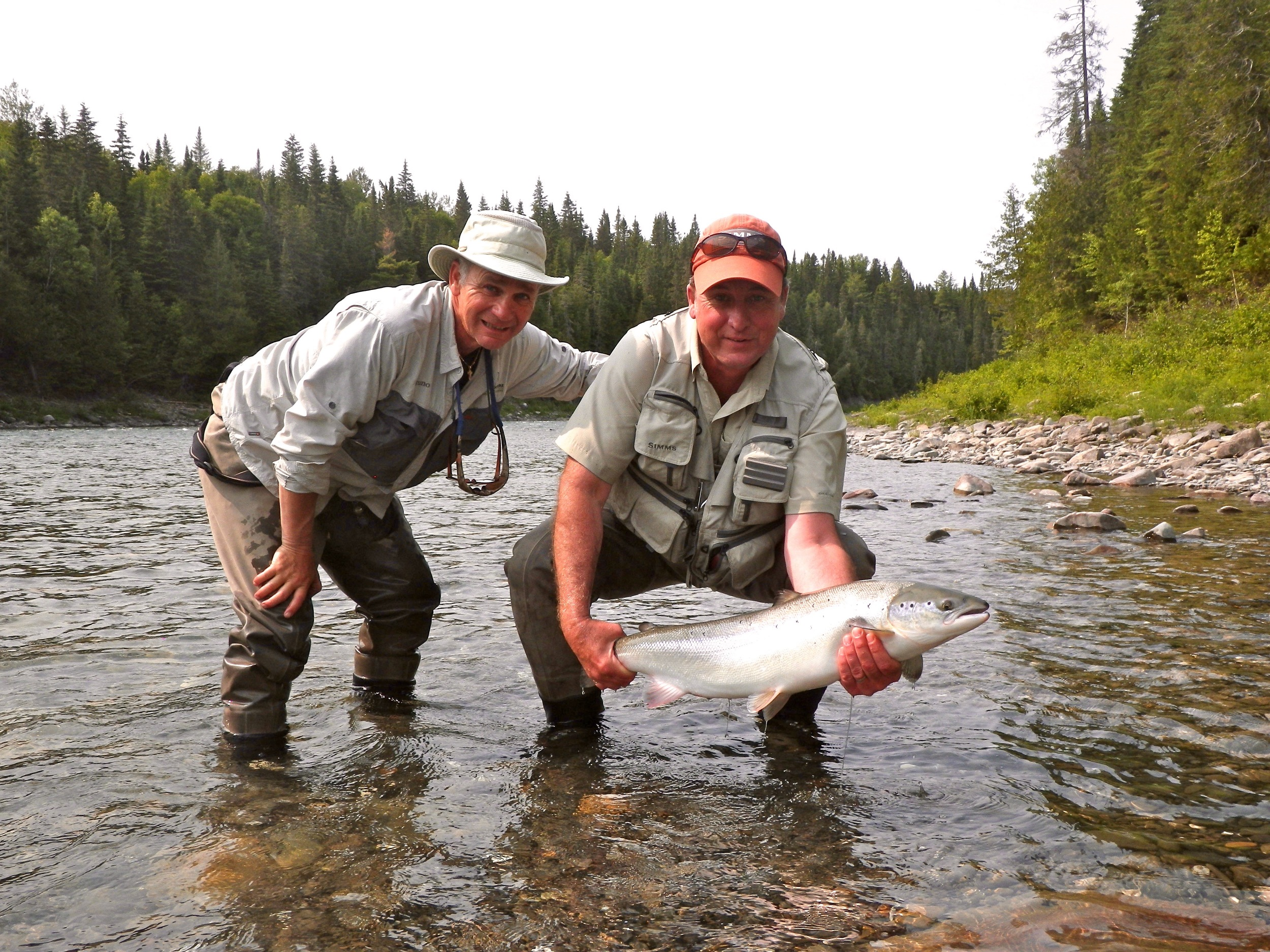 Camp Bonaventure guide Bruno Lepage with angler Mike Buzas, nice fish Mike!