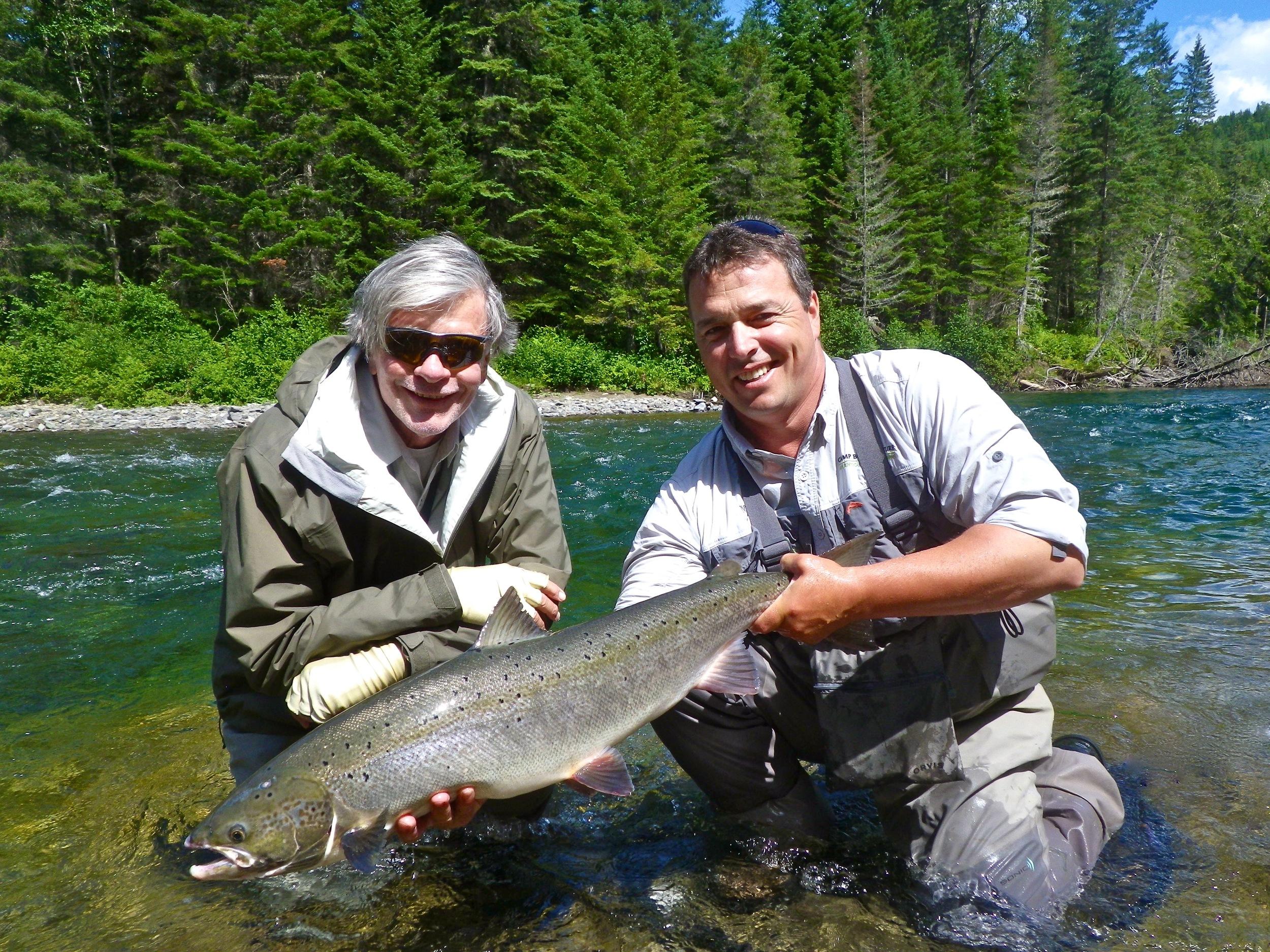 Stewart Seibensand Camp Bonaventure guide Matt Flowers, Nice fish Stewart!