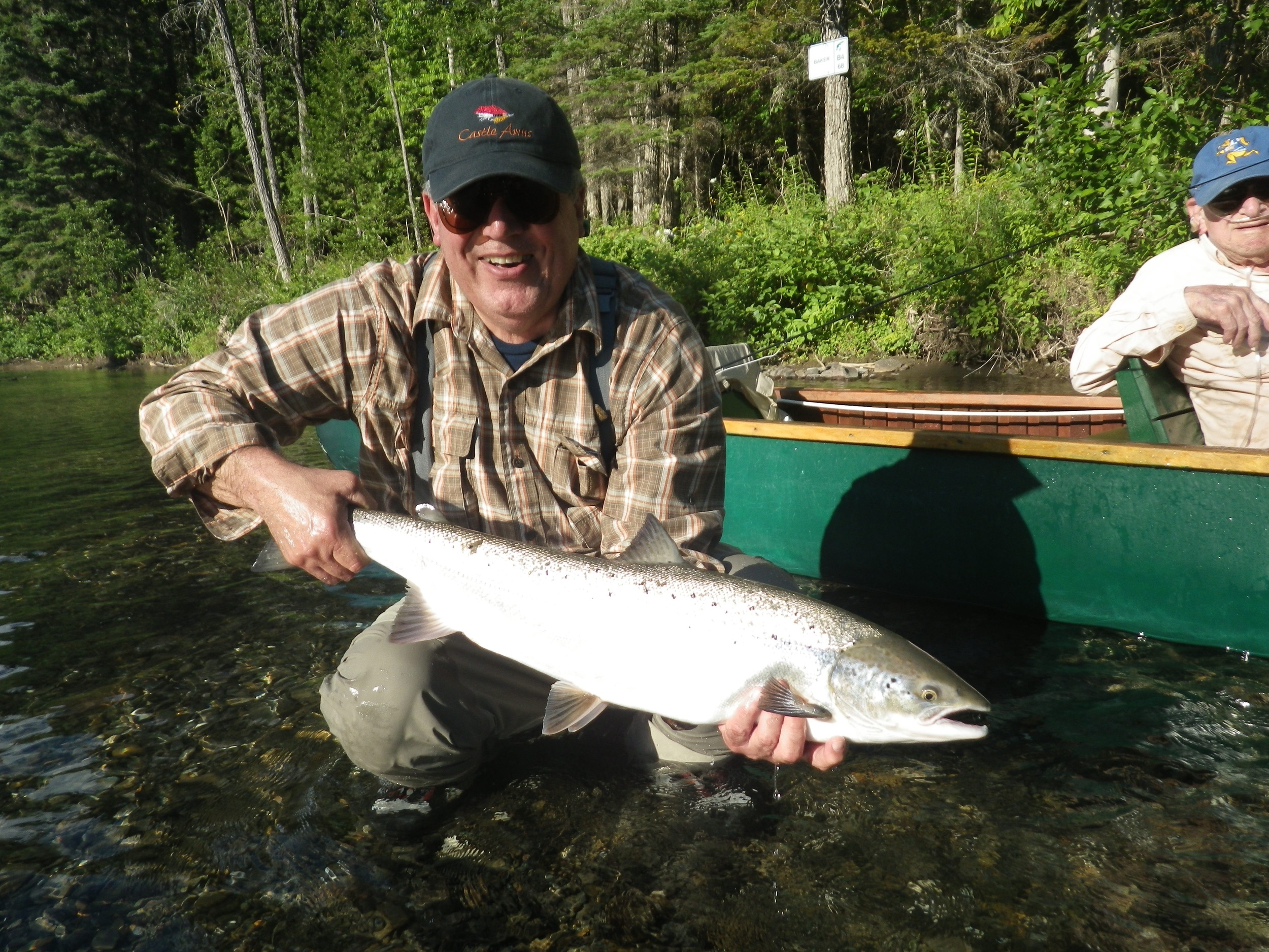 Camp Bonaventure regular David Castleman with a nice Bonaventure salmon, Congratulations David!