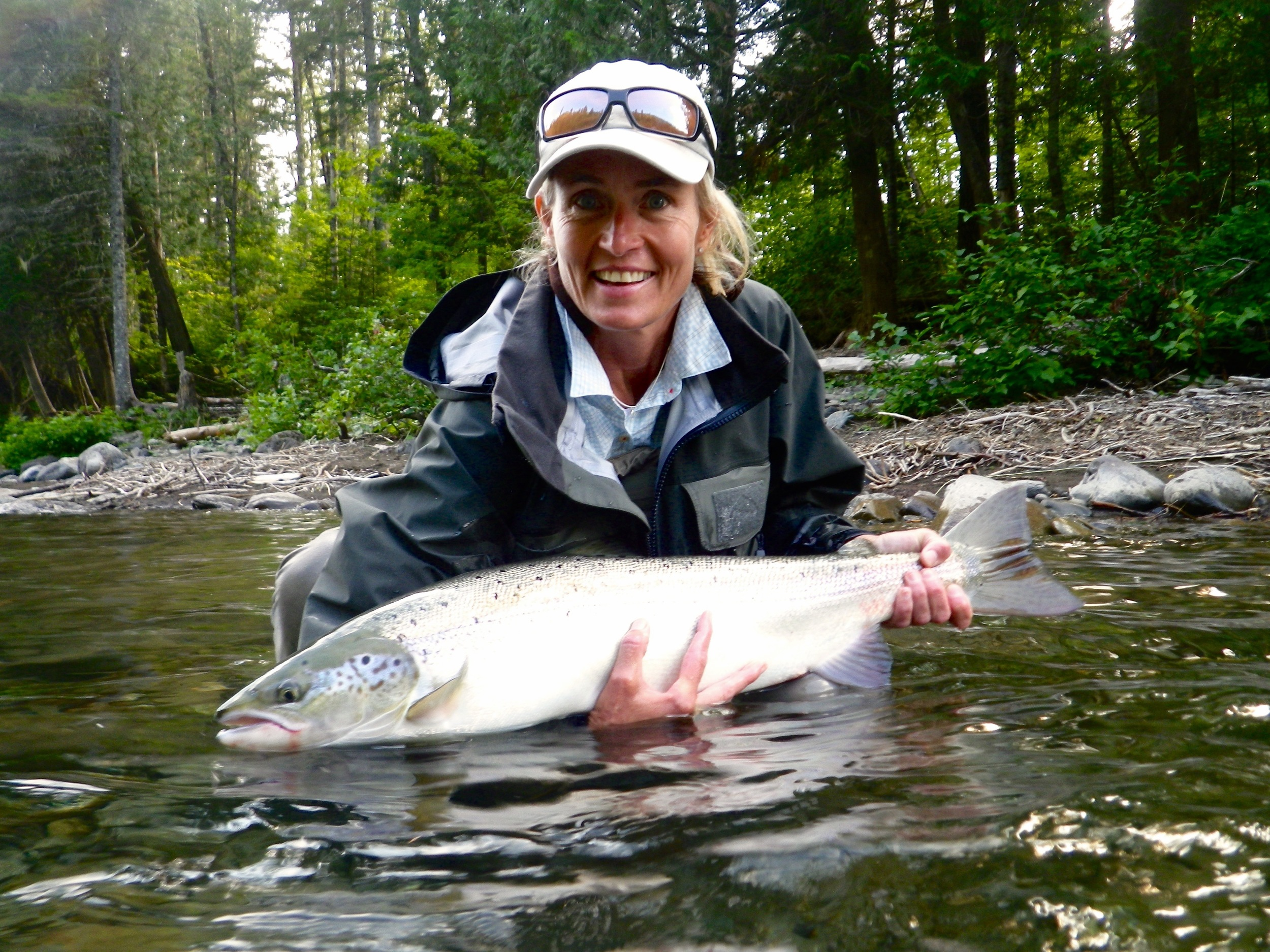 Jennifer Lafgren works for Orvis in Denver Co. This was her first Atlantic salmon, congratulations Jen!