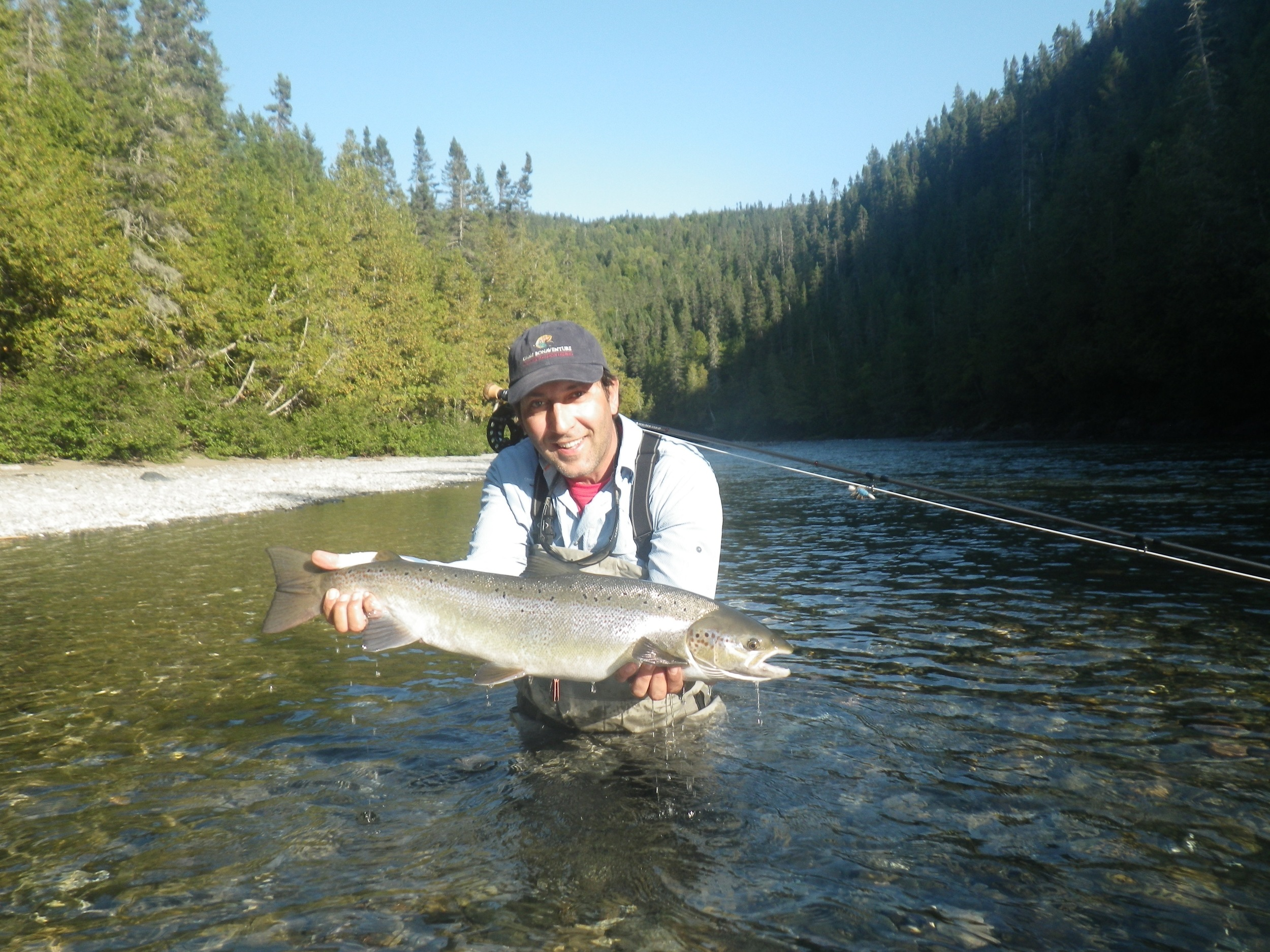Claude Lombardo from New Caledonia with a fresh run fish on the Bonaventure.