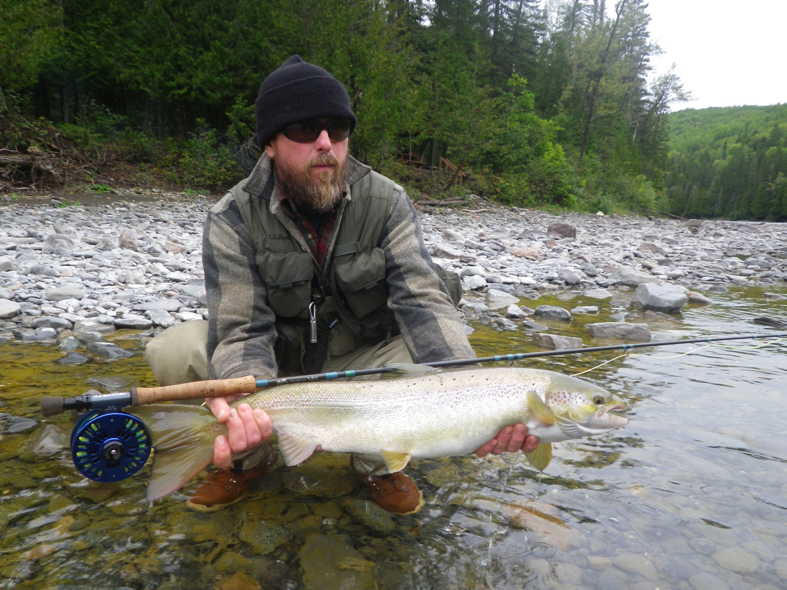 Mal Stevens from Maine with his first one of 2015, Nice fish Mal!