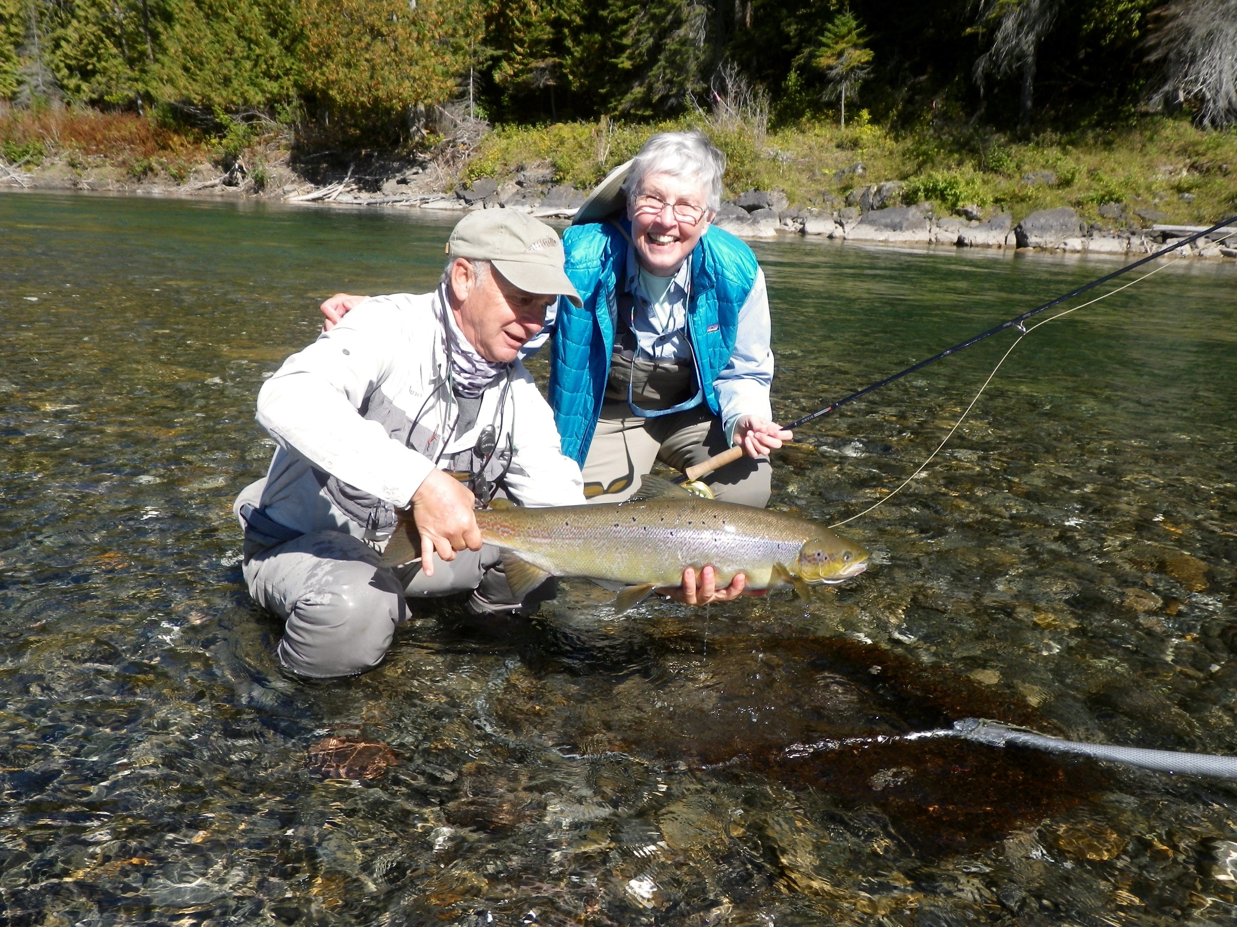 Julie Tallman told me that if she caught just one salmon her trip would have been a success, she caught many!!! Julie with Camp Bonaventure guide Bruno Lepage, Congratulations Julie.