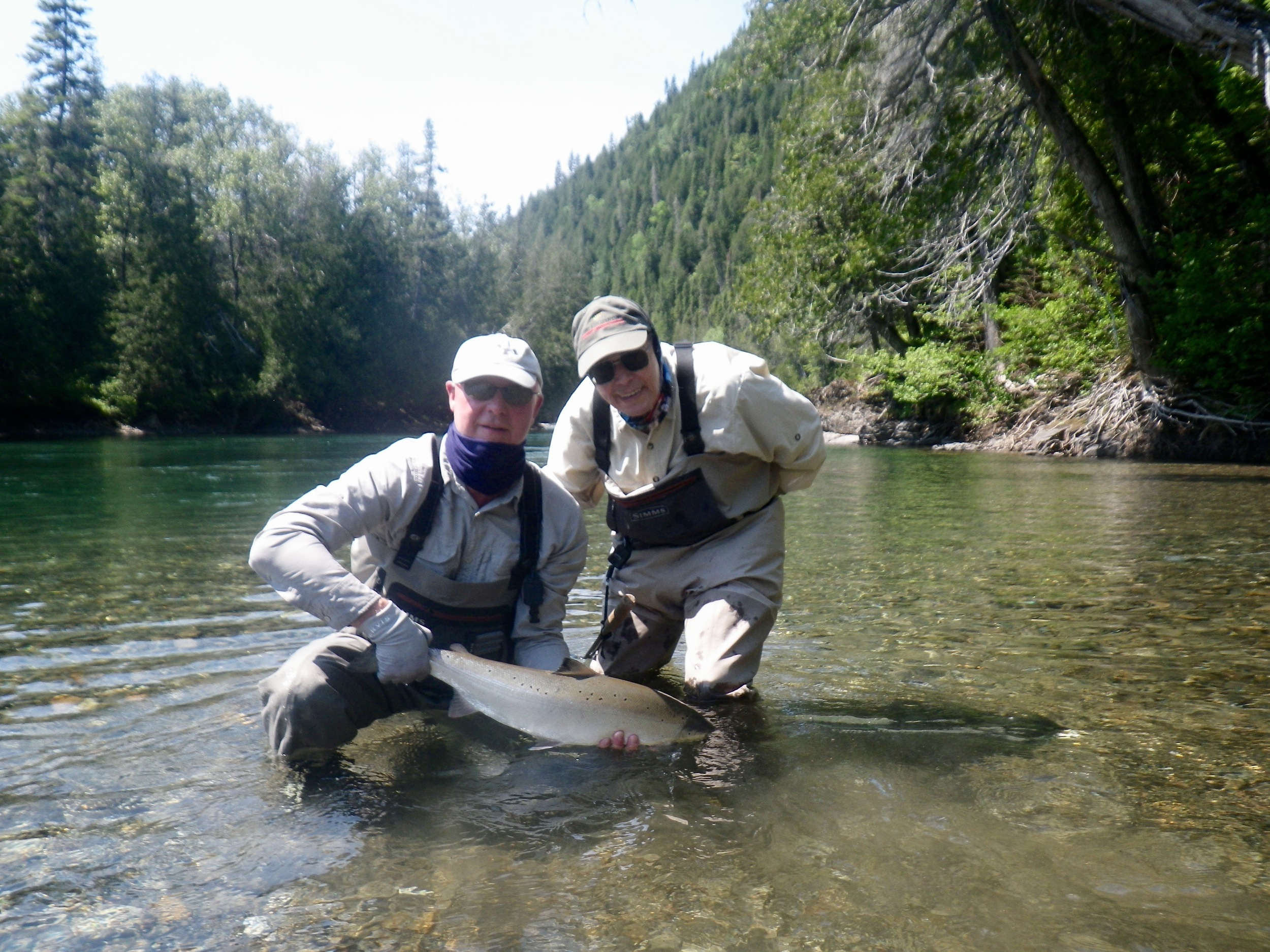 Jules Smith (Right) with long time fishing partner Taft Ring on The Bonaventure, nice salmon gents!