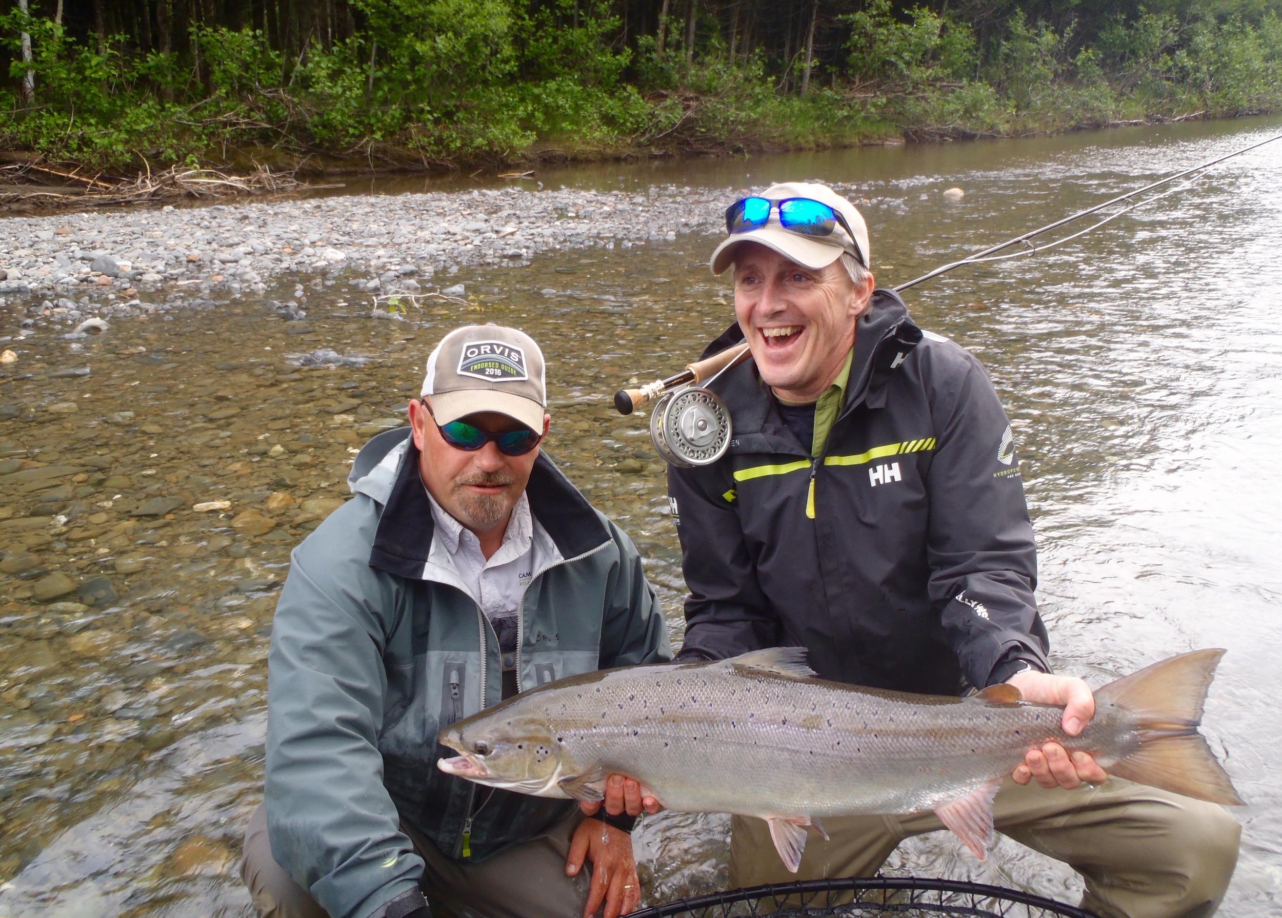 Pierre Vachon (right) and Camp Bonaventure guide John Law with a fine salmon from the Petite Cascapedia. Congratulations Pierre!
