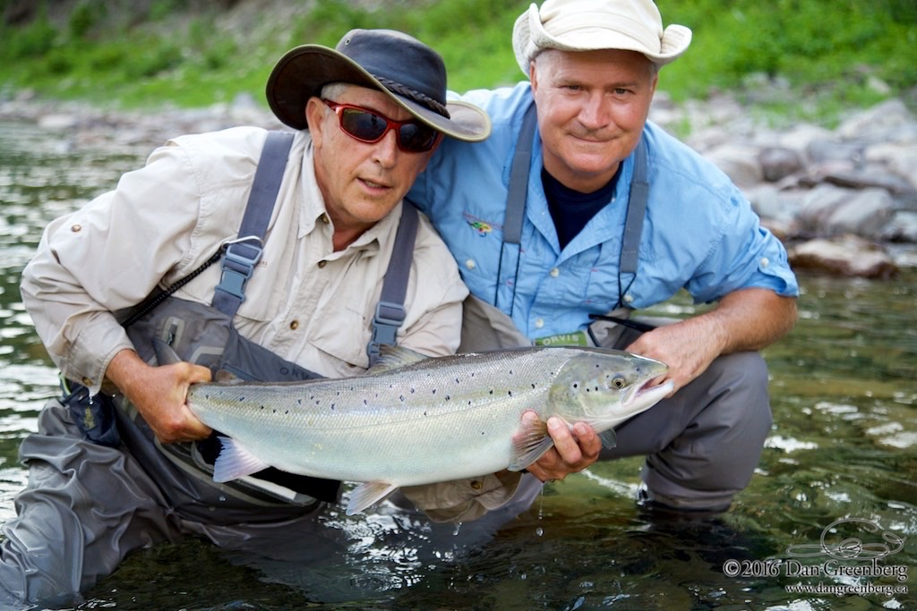 Camp Bonaventure guide Jean-Marc Poirier (left) with angler Paul Bennett, Nice salmon Paul!