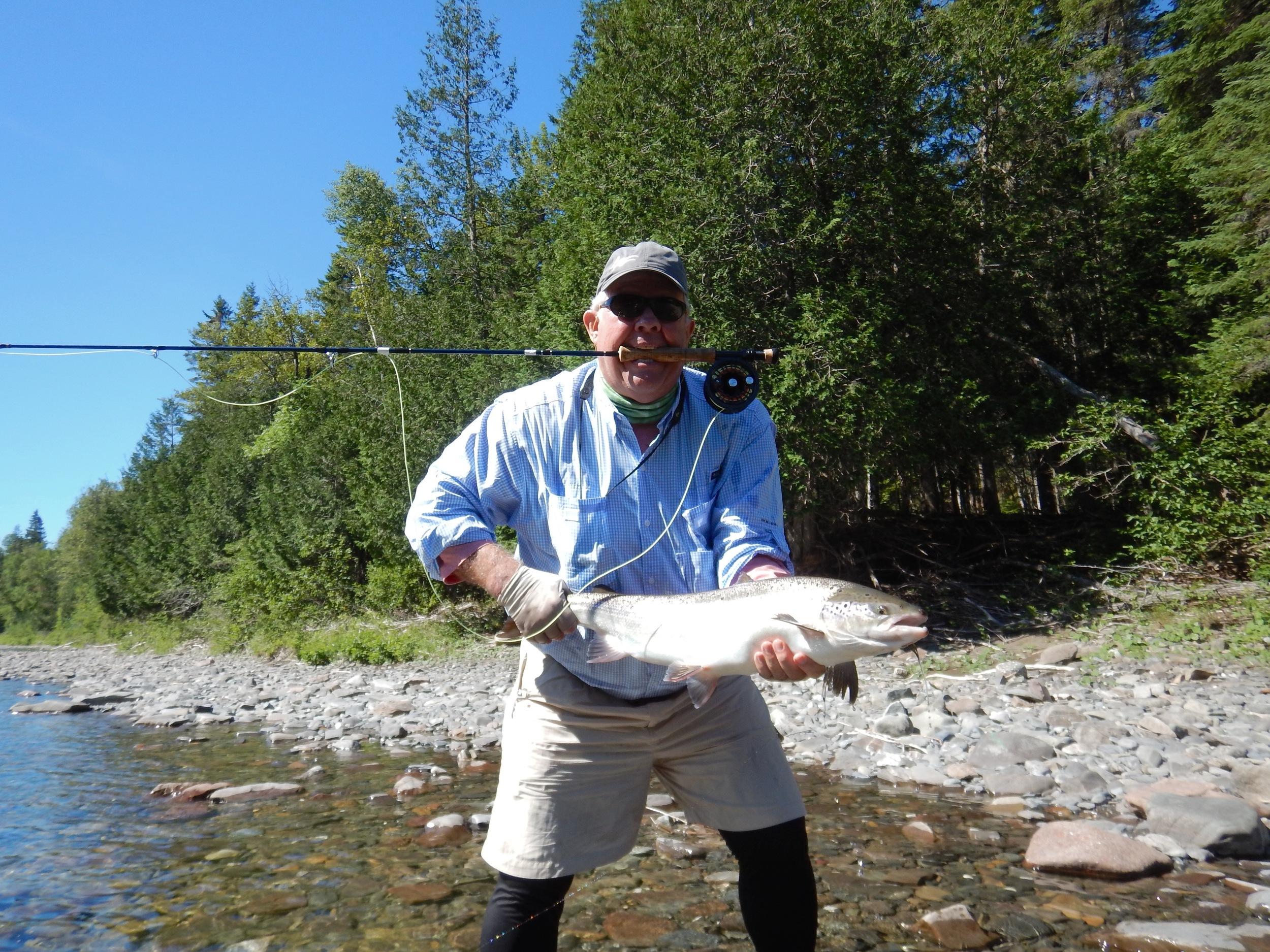 Bill Blodget with a sliver Bonaventure salmon, congratulations Bill.