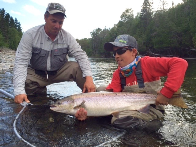 Teo Panzer is only nine years old but this is his 3rd trip to Camp Bonaventure. Here he is with guide Mathew Flowers, and a Nice salmon, way to go Teo!