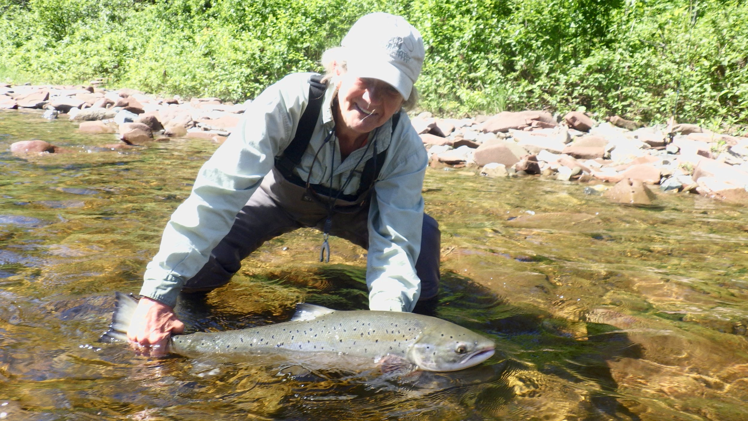 Suzie Moore has been part of Camp Bonaventure since day one! here she is again with another fins salmon. Welcome home Suzie!