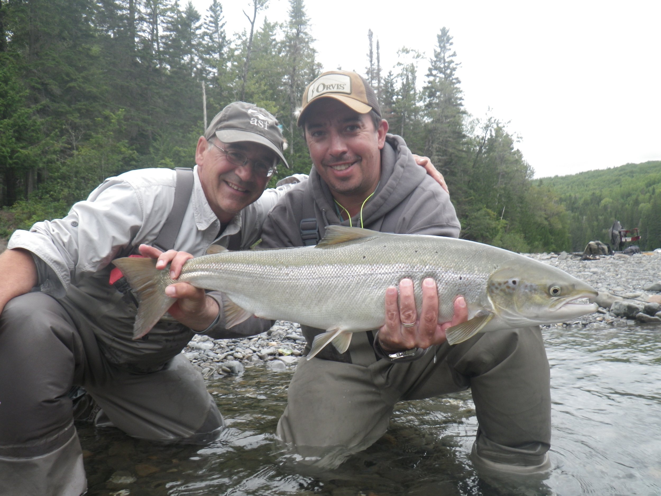 Pancho Panzer (right) and Camp Bonaventure guide Carol Barriault with a nice one from the Bonaventure, congratulations Pancho!