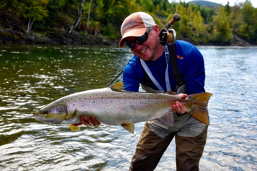 Steff Jones from the UK with his first Atlantic salmon from the Bonaventure, Congratulations Steff!