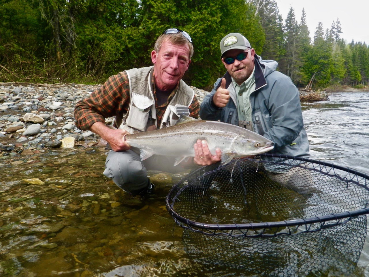 John Frost with Camp Bonaventure guide John Law with the first salmon of the new season, congratulations John! well done.
