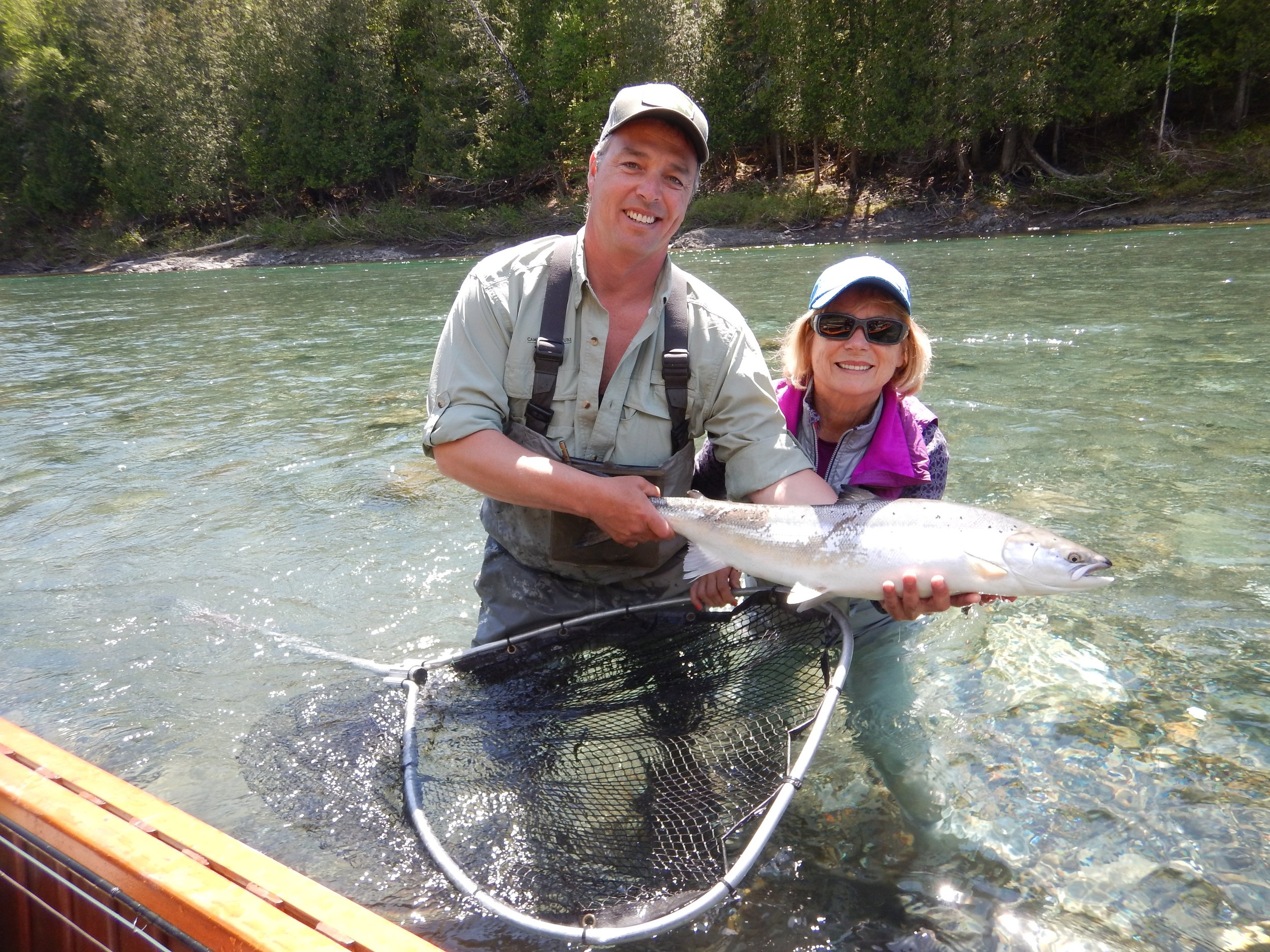 Camp Bonaventure regular Sonja Meisner and  master guide Matthew Flowers with her first one of the season, nice one Sonja!