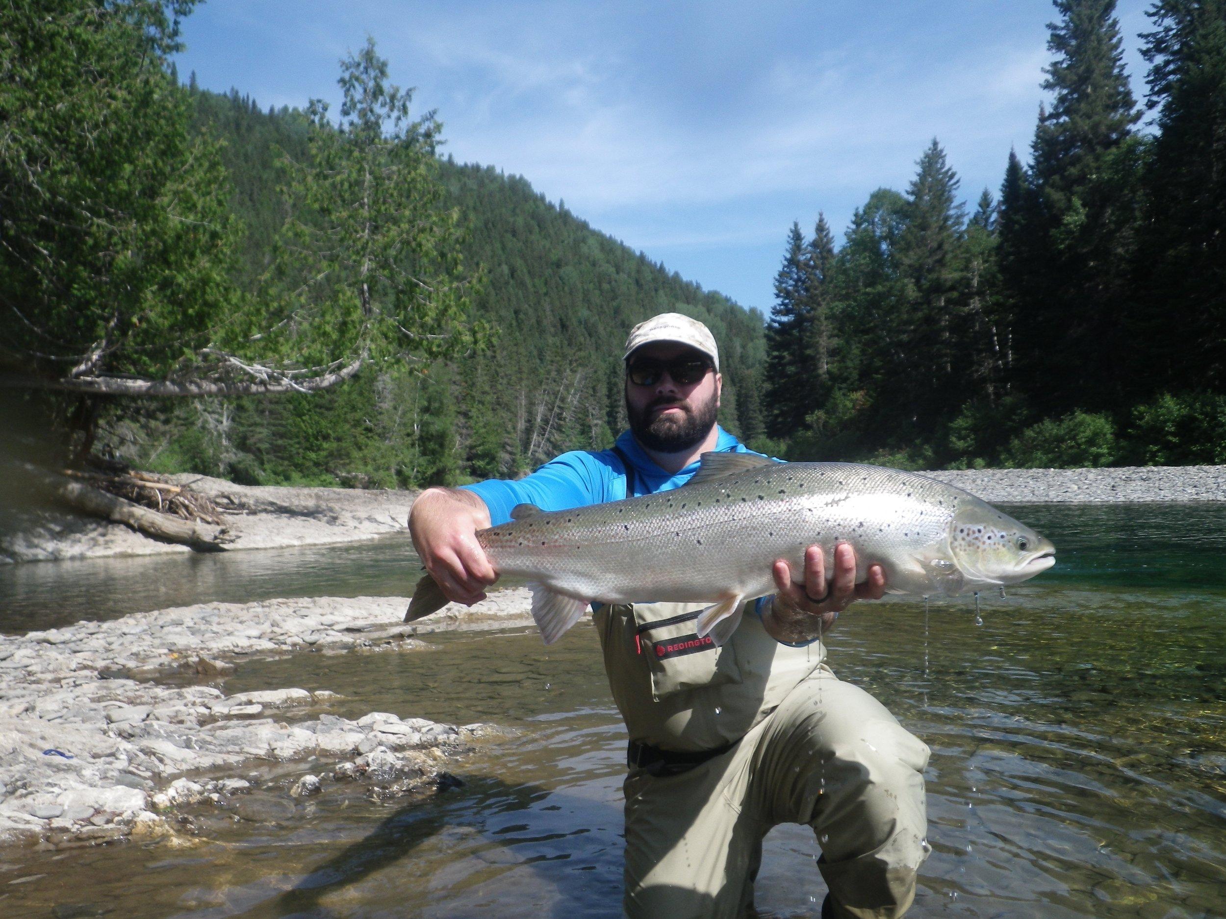Camp Bonaventure regular Marc Andre Bourdon landed this fine salmon on the Bonaventure, Nicely done Marc Andre!