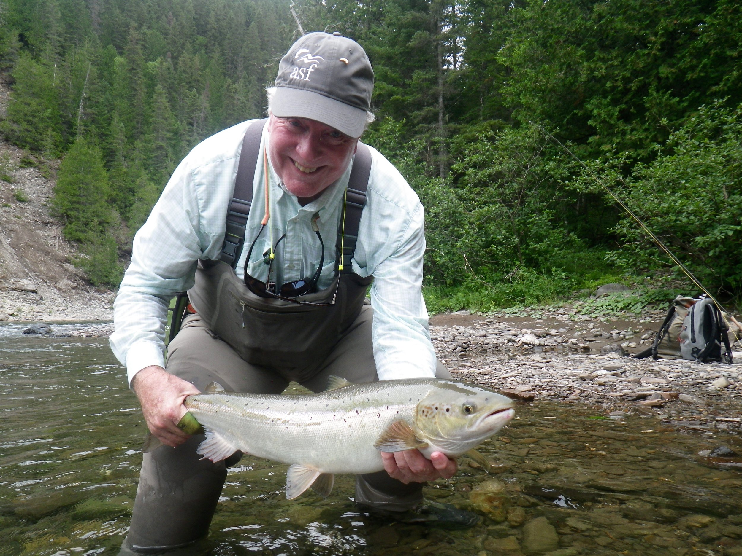 Camp Bonaventure regular Keith Williams with a nice salmon from the Bonaventure. Well done Keith, see you next year.