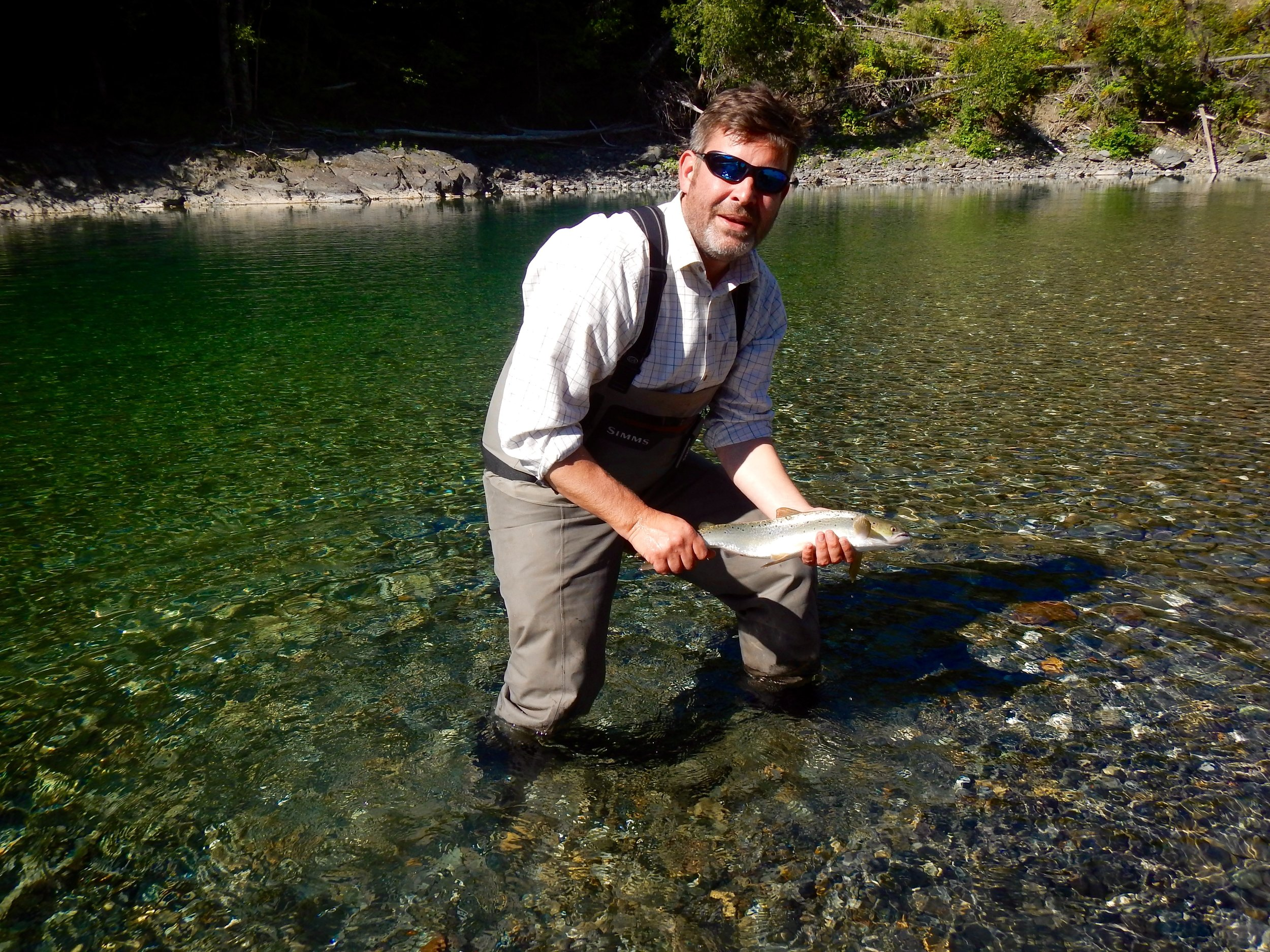 William Cox rom the UK with his first Canadian salmon, nicely done Will.
