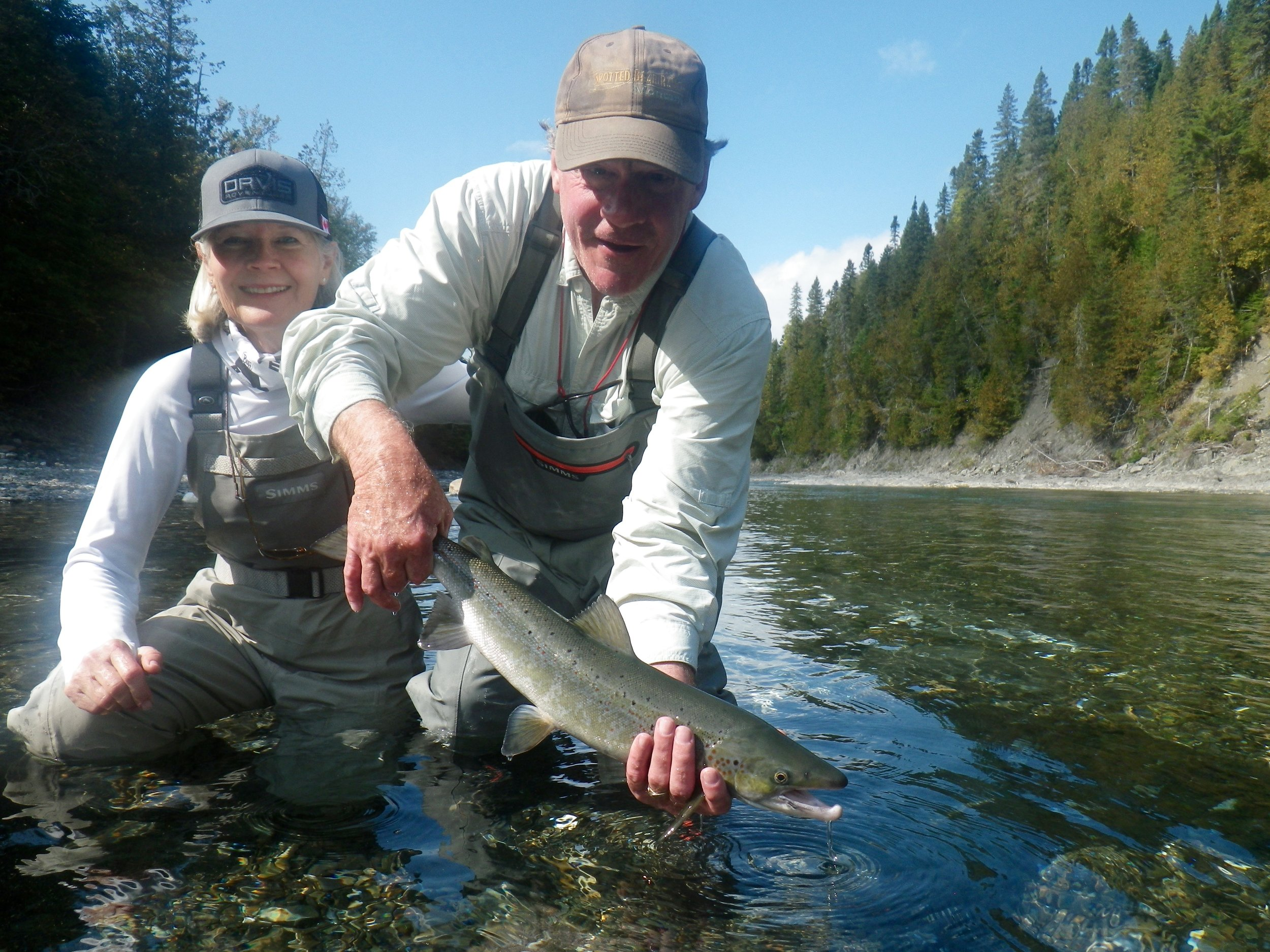 James and Lindsy Meyer with their first Atlantic salmon, nice start to the trip, congratulations